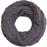 Compagno Winter-Schal Loop-Schal für Herren und Damen Strick-Schal Herren-Schal Damen-Schal, SCHAL Farbe:Grau