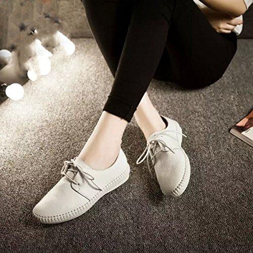 Damen Schnürhalbschuhe Anti-Rutsche Freizeitschuhe Britisch Stil Weich Bequeme Schuhe Weiß