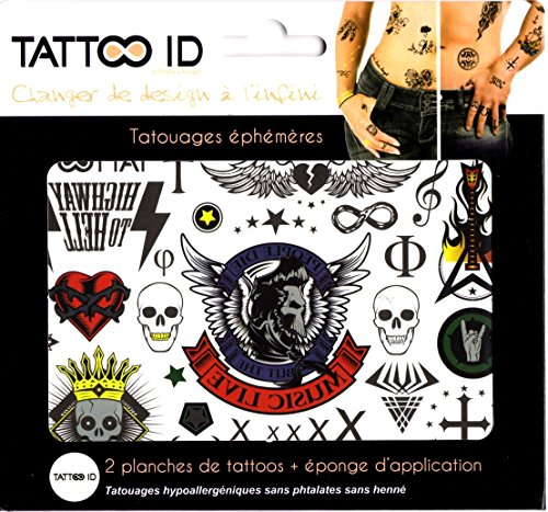 TATTOO ID BAD BOY ROCK tatouage ephemere temporaire hypoallergénique Fabriqué en FRANCE . 2 planches identiques + 1 éponge cosmétique Homme Femme