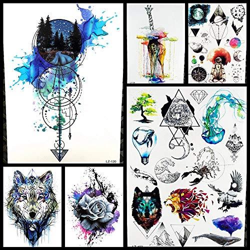 MRKAL Black Diamond Geometrie Eule Temporäre Tätowierung Aufkleber Frauen Gefälschte Henna Wasserdichte Tattoo Abziehbilder Kristall Körper Kunst