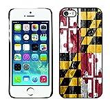 FJCases Maryland The Old Line State Drapeau à motif en bois Coque Étui Cache Housse de Protection Fine et Rigide pour Apple iPhone 5 / 5S / SE