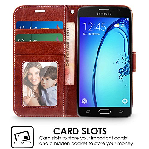 best service aa70b a5c7d Samsung On7 / On7 Pro Cover, REALIKE™ {Imported} Premium Leather Wallet  Flip Case For Samsung Galaxy On7 / On7 Pro (Royal Style Series - Brown)