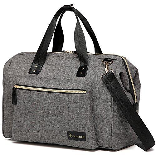 Große Baby Wickel-Schulter-Tasche mit Wickelauflage und isolierten Taschen – Multifunktionale Umhängetasche – eine Windeltasche für Mama und Papa (Grau)