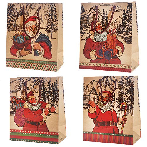 12 Pack Christmas Party Bags - Paper with Santa designs
