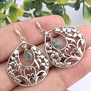 Kanika Jewelry Trove 925 Sterling Silver Labradorite Gemstone Earrings for Womens, Garnet January Birthstone Earrings for women