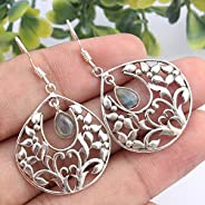 Kanika Jewelry Trove 925 Sterling Silver Labradorite Gemstone Earrings for Womens, Garnet January Birthstone E