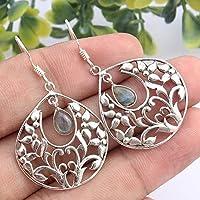 Kanika Jewelry Trove 925 Sterling Silver Labradorite Gemstone Earrings for Womens, Garnet January Birthstone Earrings for women
