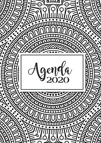 Agenda 2020: Tema Mandalas Agenda Mensual y Semanal + Organizador Diario I Planificador Semana Vista A4 Portada para colorear