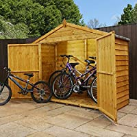 WALTONS EST. 1878 7x3 Wooden Bike Shed, Garden Storage Overlap Construction Dip Treated with 10 Year Guarantee, Windowless, Wide Double Door, Apex Roof, Roof Felt & Floor Included, (7 x 3 / 7Ft x 3Ft) 3-5 Day Delivery
