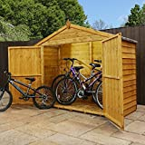 WALTONS EST. 1878 Wooden Bike Shed 7x3 Outdoor Garden Storage Overlap, Dip Treated, Windowless, Double Door, Apex Roof (7 x 3 / 7Ft x 3Ft)