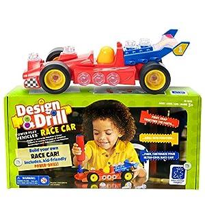 Learning Resources- Set de construcción de vehículos con Herramienta eléctrica Design & Drill Coche de Carreras, Color (EI-4131)
