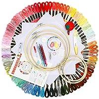 BangShou Punto de Cruz Kit 100 Hilos de Color, Bastidores,Telas de Punto de Cruz, Agujas y Accesorios Herramienta de Coser Manualidades Kit (Traje de lujo con 100 Hilos de Color)