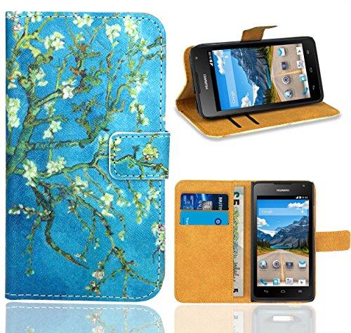 Huawei Ascend Y530 Handy Tasche, FoneExpert Wallet Case Flip Cover Hüllen Etui Ledertasche Lederhülle Premium Schutzhülle für Huawei Ascend Y530
