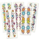 Baker Ross Glitzerblumen-Tattoos für Kinder - Kindertattoos fürs Handgelenk ideal als Mitgebsel und Preise beim Geburstag (6 Stück)