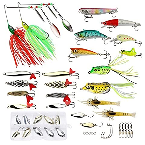 Goture 44pcs Fishing Lures Set with Tackle Box Including Soft Bait Hard Lure Spoons Spinners Topwater Frog and Accessories Best for Bass Trout Walleye Pike Salmon Fit Saltwater and Freshwater Full