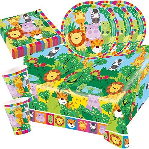 37-teiliges Party-Set Tiere - Dschungel - Jungle - Löwe, Zebra, Giraffe, Krokodil - Teller Becher Servietten Tischdecke für 8 Kinder