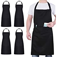 4 Packs Chef Apron, Black Apron with 2 Pockets, Waterproof Adjustable Apron for Men Women Perfect for Kitchen Cooking…
