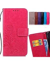 LEMORRY Coque Nokia 3 Etui Cuir Silicone TPU Housse Flip Cover Portefeuille Pochette Mince Bumper Protecteur Magnétique Fente Carte Fonction Case, Chanceux Trèfle Pink