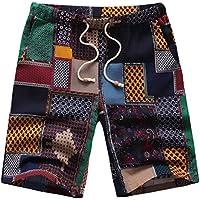 masrin Patchen Muster Einfache Lifestyle Print Sommer Shorts Sportbekleidung für Tägliche Ausflüge Gym Indoor Outdoor-Übungen (Schwarz, l)