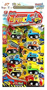 SuperToy Construction Vehicle Set 9 pcs - Dumper + JCB + Cement Mixer + Transport Truck + Garbage Truck+ Container + Crain - Unbreakable ABS Plastic Friction Powered Kids Automobile Toy Set - Assured Quality