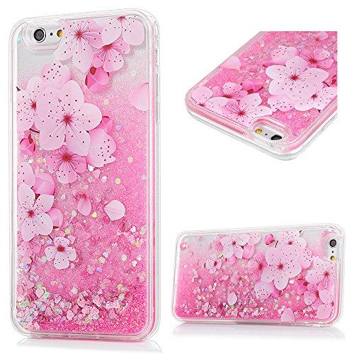 iphone 6/6S Hülle Badalink UltraSlim Schutzhülle TPU+PC Handyhülle Case Cover Treibsand Flüssige Glitzer Glitter Herz Flamingo Handytasche Anti-Rutsch Kratzfest Blütenkirsche