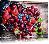 Rote Beerenfrüchte auf edlen Holzdielen Format: 60x40 auf Leinwand, XXL riesige Bilder fertig gerahmt mit Keilrahmen, Kunstdruck auf Wandbild mit Rahmen, günstiger als Gemälde oder Ölbild, kein Poster oder Plakat