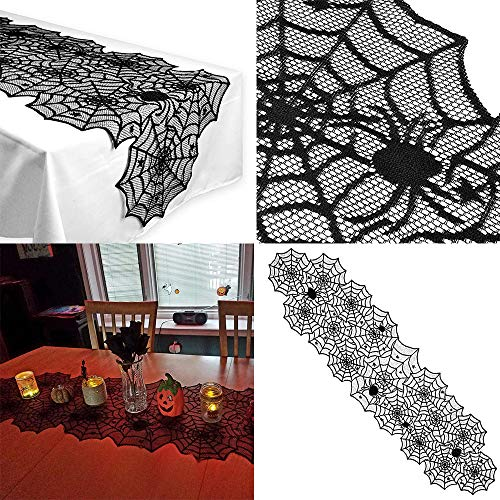 (TAOtTAO Table Flag Halloween Polyester Lace Dinner Parties Table Runner Black Spider Web Decor)