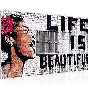 Bild Life is Beautiful Banksy Street Art Wandbild Vlies – Leinwand Bilder XXL Format Wandbilder Wohnzimmer Wohnung Deko…