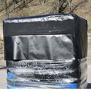 Housse de protection pour palettes noir/noir, holzabdeckung, capote, bâche avec fermeture éclair, env. 120 x 80 x 50 cm