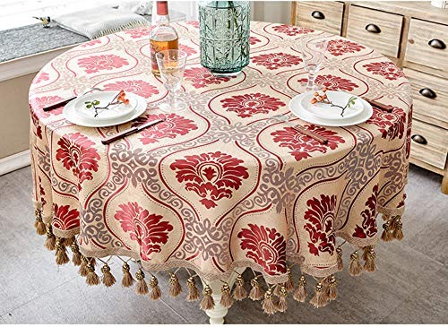 Ycwyf tovaglia jacquard di lusso in stile europeo con nappa per la festa di compleanno di nozze tovaglia rotonda di copertura tavolo per la decorazione domestica 160x160cm