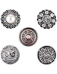 Morella señorías Click-Button Set pequeño 5pcs botones 12mm diámetro búho de perlas y adornos adorno