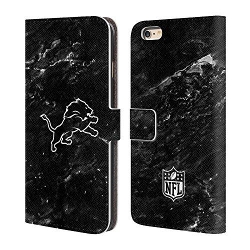 Ufficiale NFL Marmo 2017/18 Detroit Lions Cover a portafoglio in pelle per Apple iPhone 6 Plus / 6s Plus Marmo