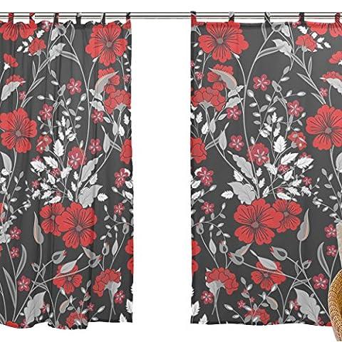 jstel Lot de 2voile rideau fenêtre, Art ethnique Motif floral, tulle Voilage Rideau Drapé Lit 139,7x 198,1cm deux panneaux de