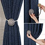 Magnetic Curtain Tie backs Clips-Window Tie Backs European curtain Clasp Diamond Magnet Button, Powerful Curtain Magnet Butto