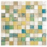 wodewa Wandbild aus Holz Wanddeko 3D Holzbild Mosaik Holzdeko Vintage Bunt 55x55cm Holzbilder I Moderne Bilder Holz Wanddekoration Wohnzimmer, Küche, Flur