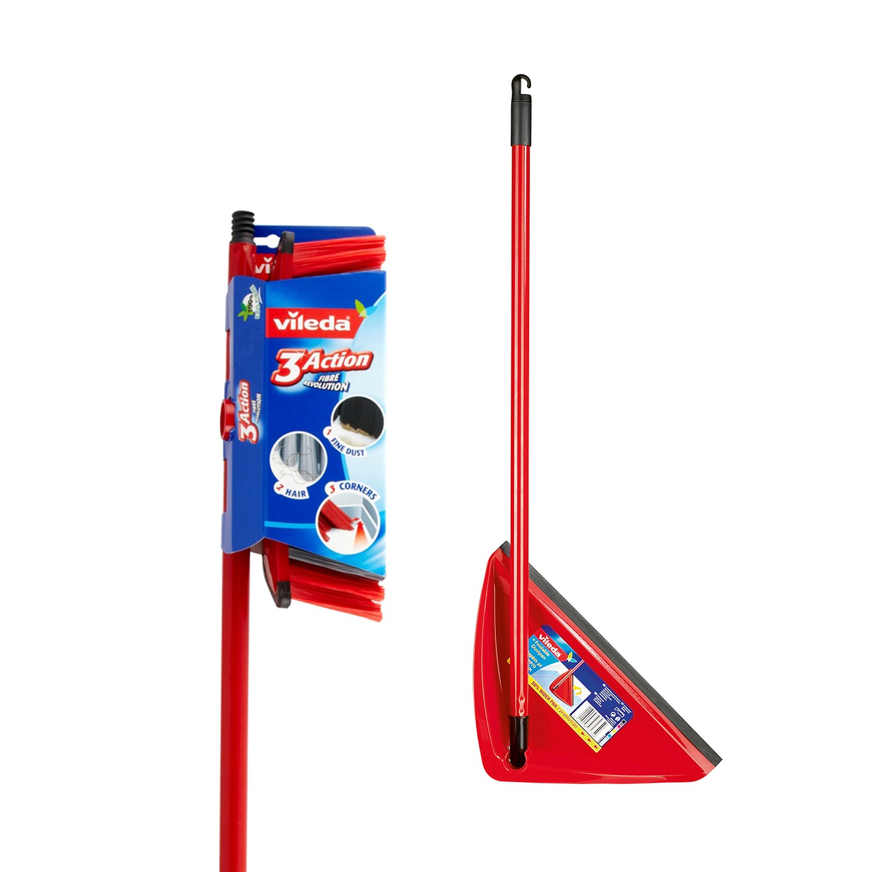 Vileda 3 Action Broom Plus Long Handled Dustpan Red Top