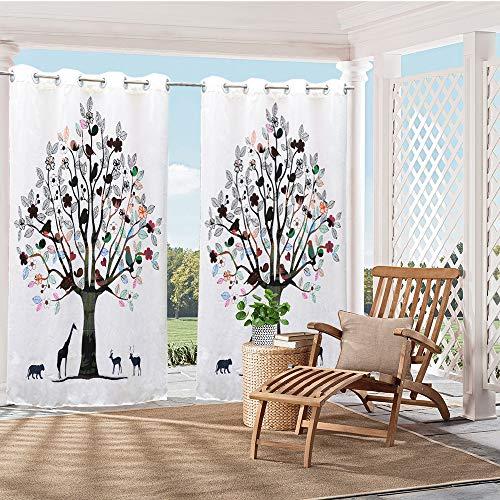 irsch- und Baum-Motiv, für den Außenbereich, für Veranda, Terrasse, Sichtschutz, Vorhänge mit UV-Strahlen, wasserdicht, einfach aufzuhängen, 150 x 120 cm ()