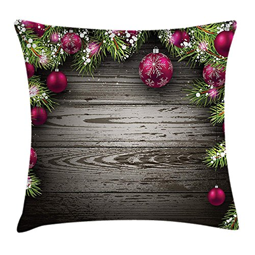 Christmas Throw Pillow Cushion Cover, Old Fashioned Concept with Twigs and Balls on Rustic Wood Vintage Design Print, Decorative Square Accent Pillow Case, 18 X 18 Inches, Brown Pink Violett Double Old Fashioned