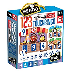 Headu-123 Montessori Touch Bingo Juego Infantil Matemáticas, Multicolor (IT21109)