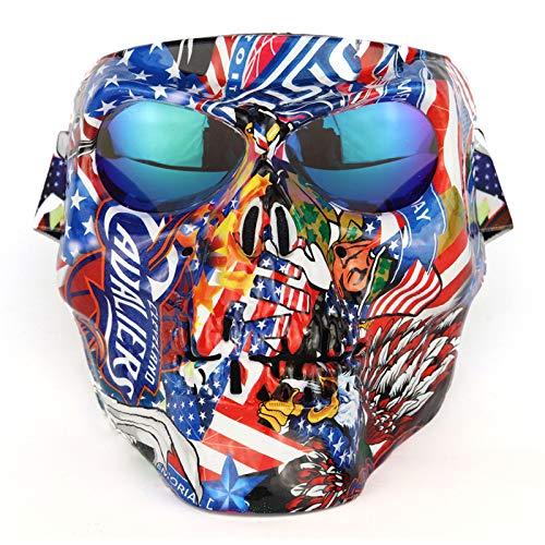 HONCENMAX Motorrad-Schutzmaske, mit polarisierten Brillengläsern, Skimaske, Taktische Maske Totenkopf Maske - Mit Winddichte Reitbrille für Airsoft Paintball Halloween