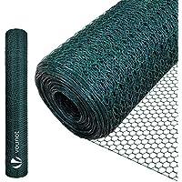 VOUNOT Rete Metallica Plastificata, Reti Recinzione per Pollame, Animali e Piante, Maglia Esagonale 13mm, 100cm x 10m, Verde