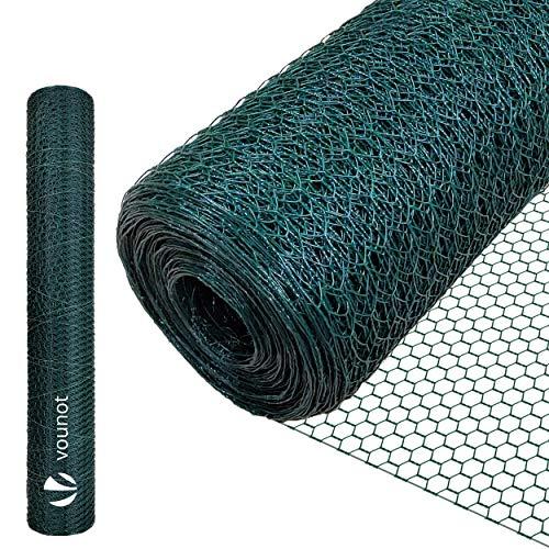 VOUNOT Drahtzaun Sechskantgeflecht, Maschendrahtzaun Sechseckgeflecht, 100 cm x 25 m, Maschenweite 15 mm, Grün PVC-Beschichtet