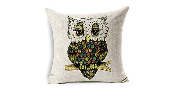 F.Dorla Owl Cotton Linen Pillow Cushion