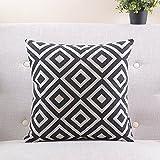 Geometrische Kissenbezug aus Baumwolle schwarz und weiß/einfach und modern Sofa-Kissen/Kissen Nachttischlampe/Kissen Lendenkissen, C, 60x60cm(24x24inch)versionA
