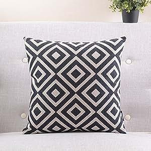 géométrique taie d'oreiller en coton noir et blanc/Simple et moderne coussin de canapé/coussins de chevet/oreiller lombaire-C 45x45cm(18x18inch)versionA