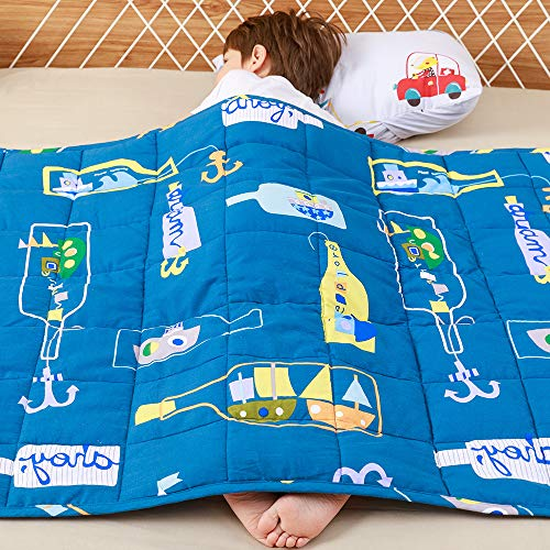 anjee kids weighted blanket, 100% natural cotton heavy blanket for children, great for sensory calming and sleep, 2.3kg 90x120cm, ocean dream