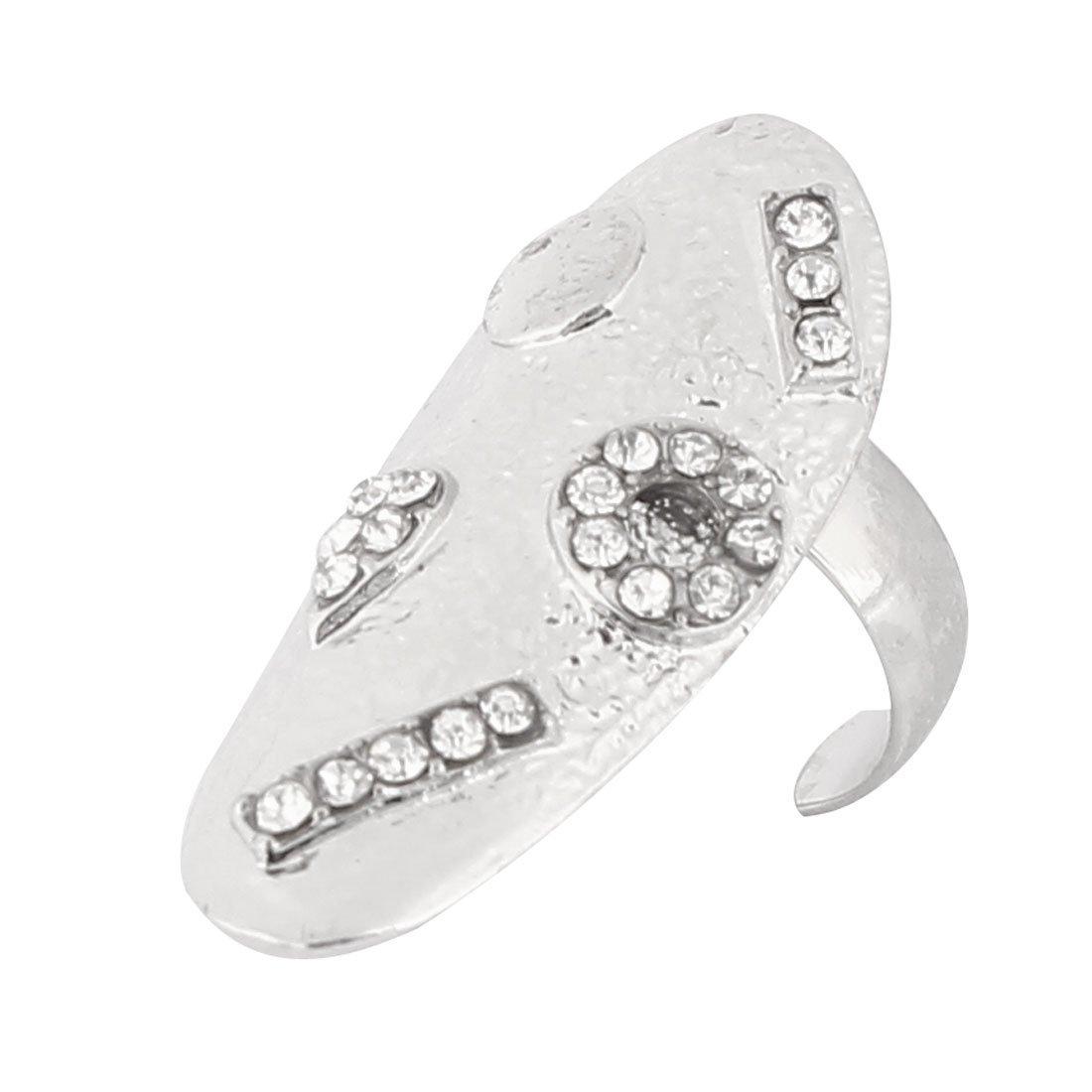 Sourcingmap-Art-Anello da dita con montatura argentata e smaltata, argento