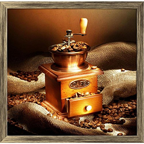 ArtzFolio Coffee Grinder Canvas Painting Antique Gold Wood Frame 20.3 X 20Inch Gold Coffee Grinder