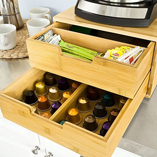 Vetrineinrete® portacapsule in legno con 2 cassetti per macchinetta di caffè organizer da cucina porta capsule the p30