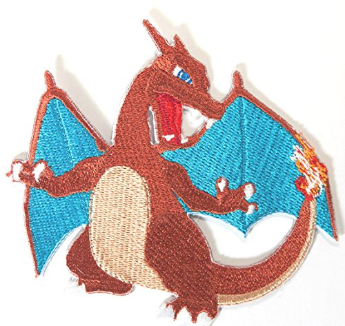 Blastoise Kostüm (Charizard Pokemon Patch Embroidered Iron on Badge Aufnäher Kostüm Fancy Kleid Fire Dragon Pokémon)